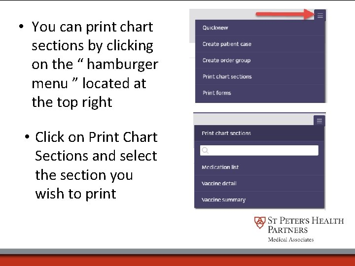 """• You can print chart sections by clicking on the """" hamburger menu"""