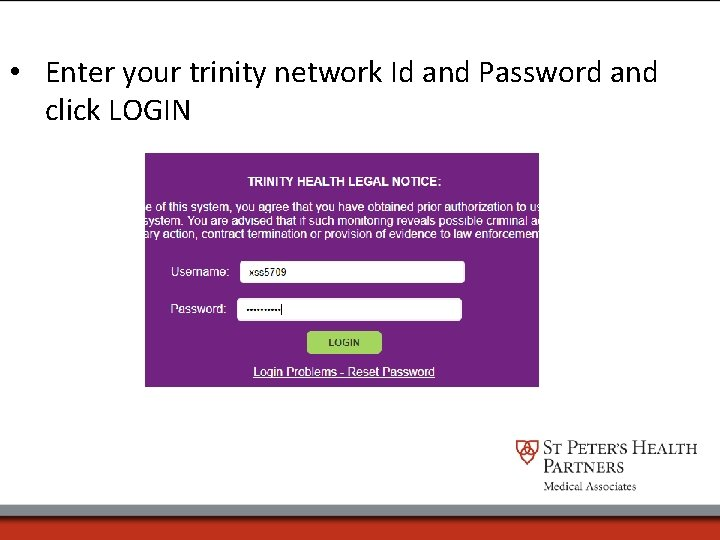 • Enter your trinity network Id and Password and click LOGIN
