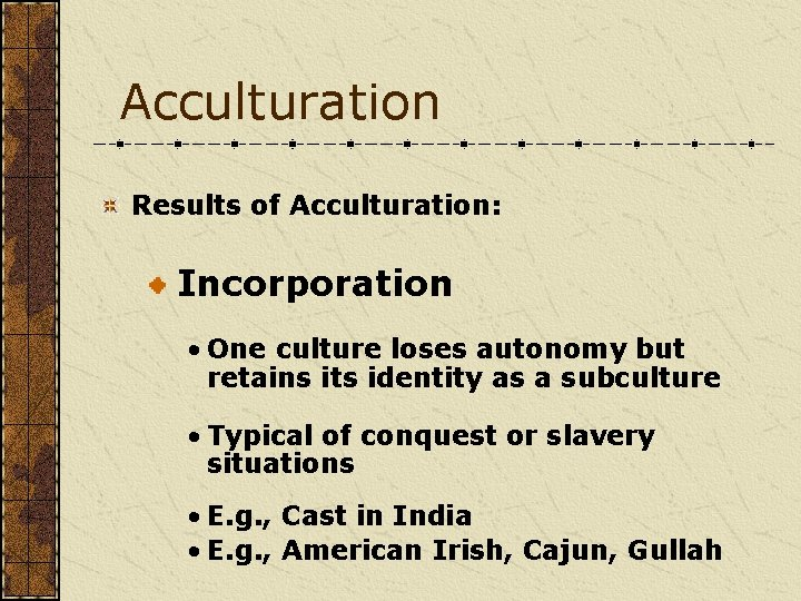 Acculturation Results of Acculturation: Incorporation • One culture loses autonomy but retains its identity
