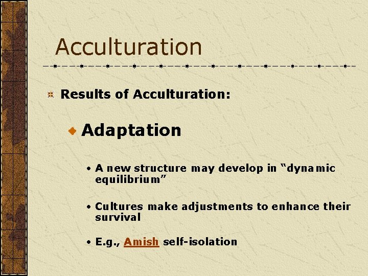 """Acculturation Results of Acculturation: Adaptation • A new structure may develop in """"dynamic equilibrium"""""""