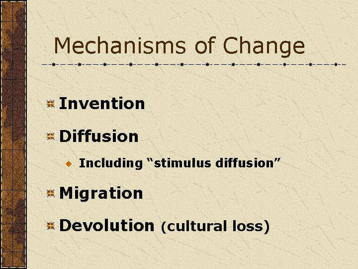 """Mechanisms of Change Invention Diffusion Including """"stimulus diffusion"""" Migration Devolution (cultural loss)"""