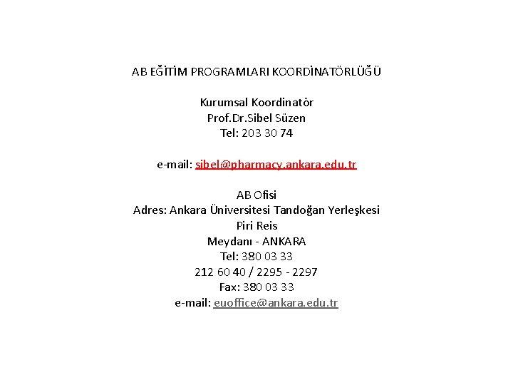 AB EĞİTİM PROGRAMLARI KOORDİNATÖRLÜĞÜ Kurumsal Koordinatör Prof. Dr. Sibel Süzen Tel: 203 30 74