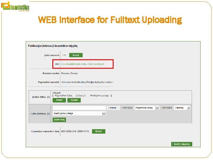 WEB Interface for Fulltext Uploading