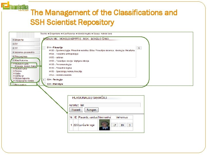 The Management of the Classifications and SSH Scientist Repository