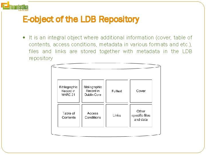 E-object of the LDB Repository It is an integral object where additional information (cover,