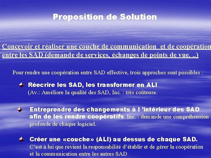 Proposition de Solution Concevoir et réaliser une couche de communication et de coopération entre