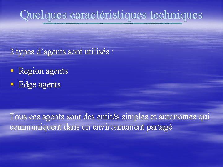 Quelques caractéristiques techniques 2 types d'agents sont utilisés : § Region agents § Edge