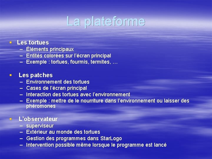 La plateforme § Les tortues – Éléments principaux – Entités colorées sur l'écran principal