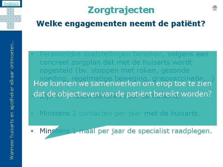 THEMA'S Zorgtrajecten Wanneer huisarts en apotheker elkaar ontmoeten… Welke engagementen neemt de patiënt? •