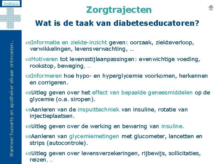 THEMA'S Zorgtrajecten Wanneer huisarts en apotheker elkaar ontmoeten… Wat is de taak van diabeteseducatoren?