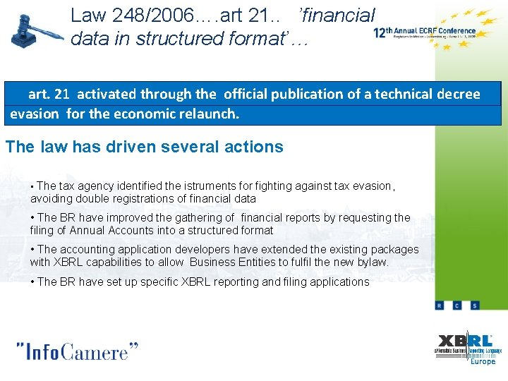 Law 248/2006…. art 21. . 'financial data in structured format'… administrative art. 21 activated