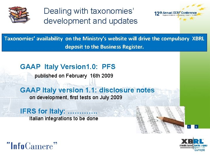 Dealing with taxonomies' development and updates Taxonomies' availability on the Ministry's website will drive