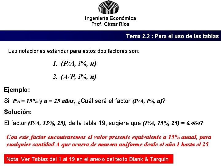 Ingeniería Económica Prof. César Ríos Tema 2. 2 : Para el uso de las