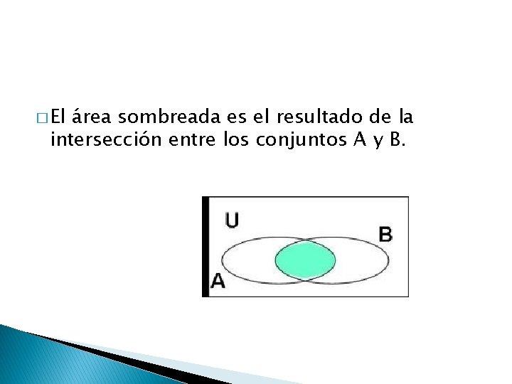 � El área sombreada es el resultado de la intersección entre los conjuntos A