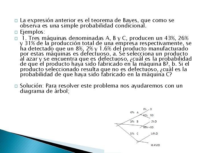 � � La expresión anterior es el teorema de Bayes, que como se observa