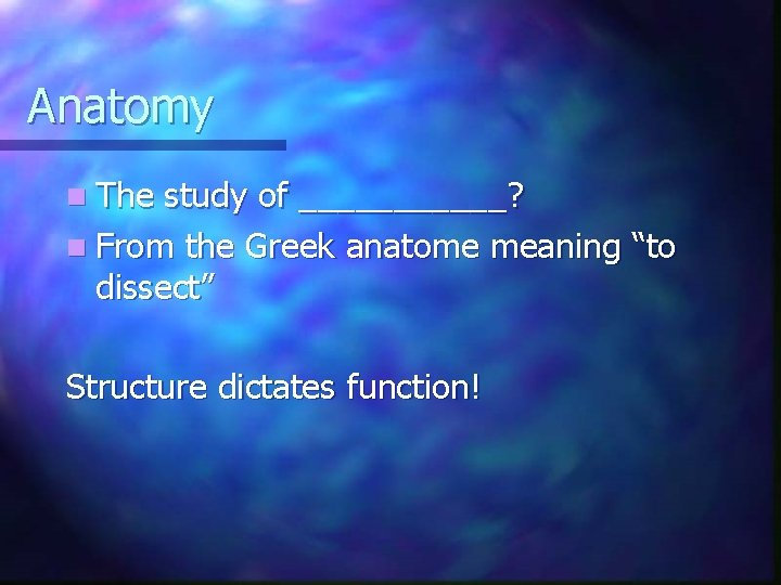 """Anatomy n The study of ______? n From the Greek anatome meaning """"to dissect"""""""