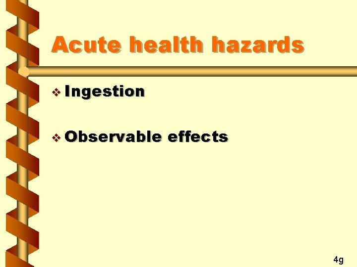 Acute health hazards v Ingestion v Observable effects 4 g