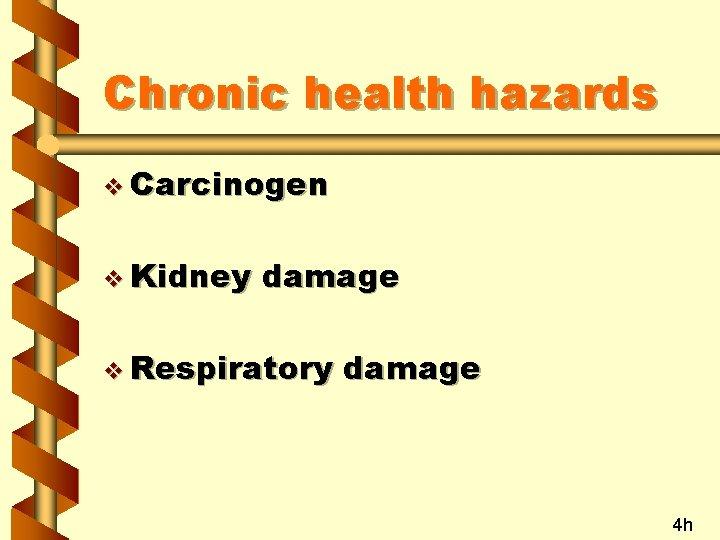 Chronic health hazards v Carcinogen v Kidney damage v Respiratory damage 4 h