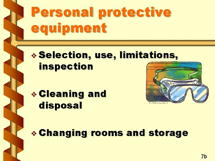 Personal protective equipment v Selection, inspection v Cleaning disposal use, limitations, and v Changing
