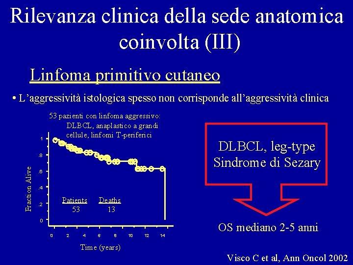 Rilevanza clinica della sede anatomica coinvolta (III) Linfoma primitivo cutaneo • L'aggressività istologica spesso