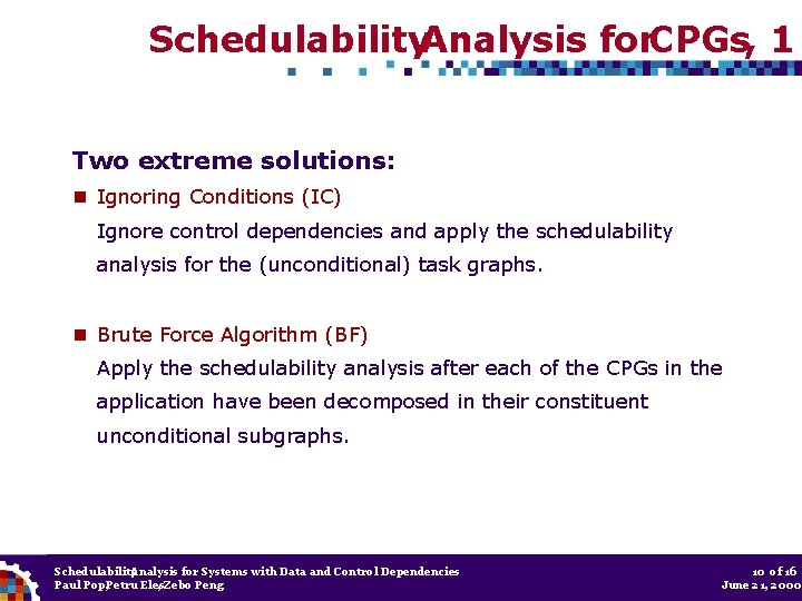 Schedulability. Analysis for. CPGs, 1 Two extreme solutions: Ignoring Conditions (IC) Ignore control dependencies