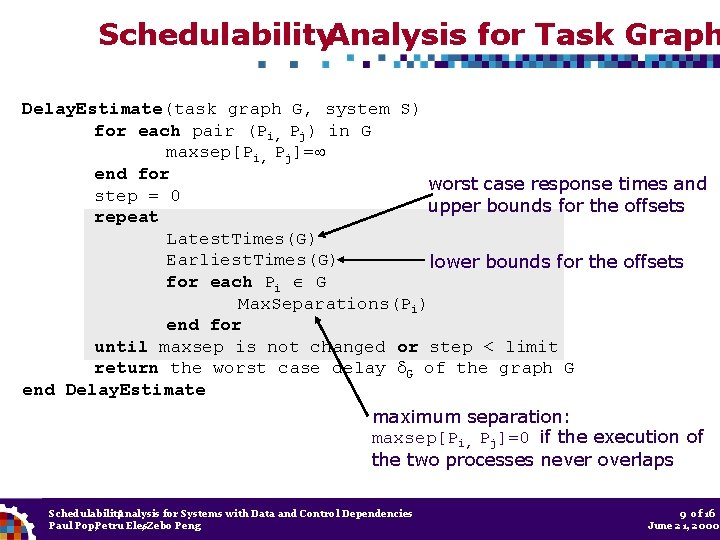 Schedulability. Analysis for Task Graph Delay. Estimate(task graph G, system S) for each pair