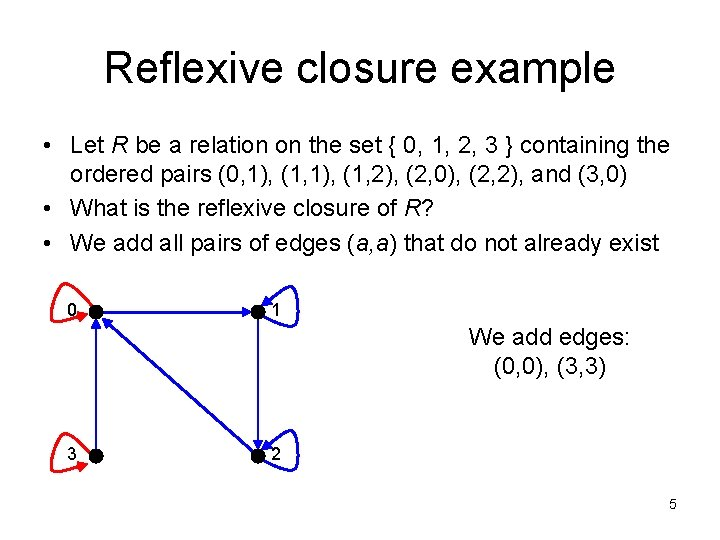 Reflexive closure example • Let R be a relation on the set { 0,