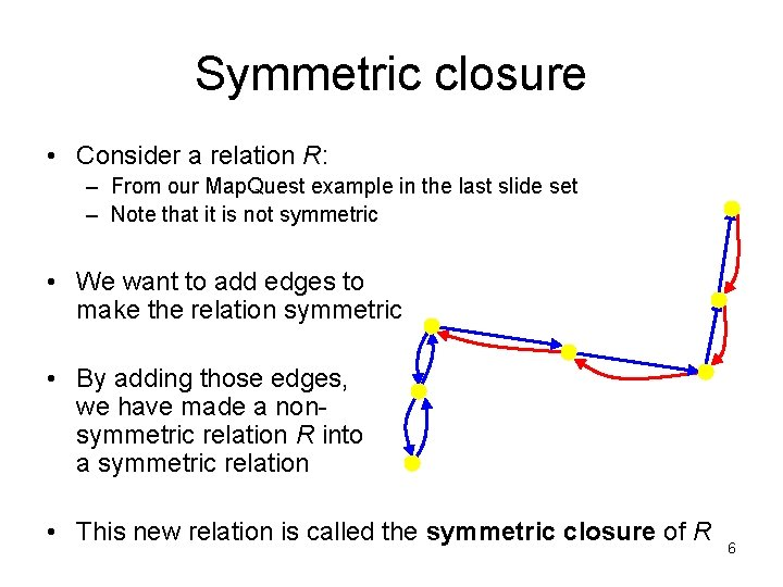 Symmetric closure • Consider a relation R: – From our Map. Quest example in