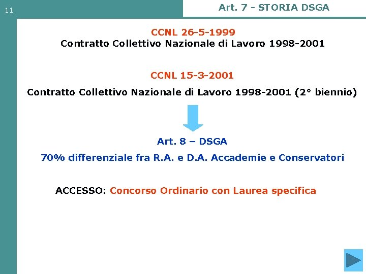11 Art. 7 - STORIA DSGA CCNL 26 -5 -1999 Contratto Collettivo Nazionale di