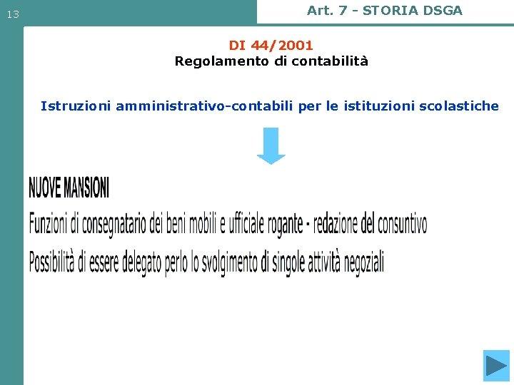 13 Art. 7 - STORIA DSGA DI 44/2001 Regolamento di contabilità Istruzioni amministrativo-contabili per