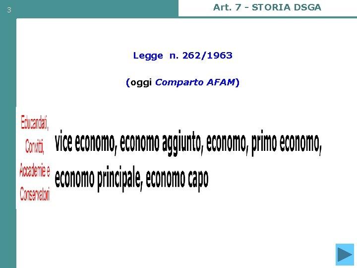 3 Art. 7 - STORIA DSGA Legge n. 262/1963 (oggi Comparto AFAM) AFAM