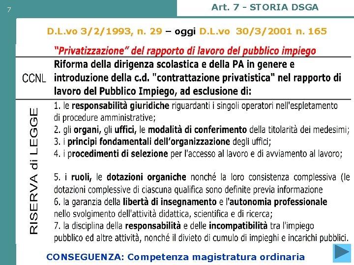 7 Art. 7 - STORIA DSGA D. L. vo 3/2/1993, n. 29 – oggi