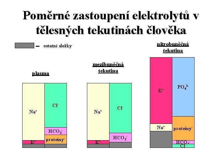 Poměrné zastoupení elektrolytů v tělesných tekutinách člověka nitrobuněčná tekutina ostatní složky mezibuněčná tekutina plasma