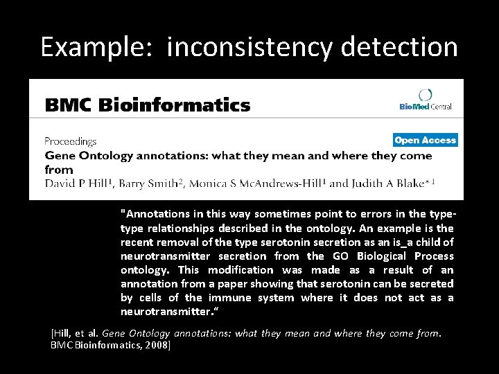 """Example: inconsistency detection """"Annotations in this way sometimes point to errors in the type"""