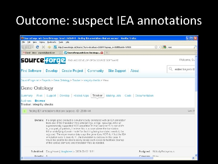 Outcome: suspect IEA annotations