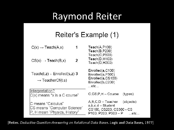 Raymond Reiter [Reiter. Deductive Question-Answering on Relational Data Bases. Logic and Data Bases, 1977]