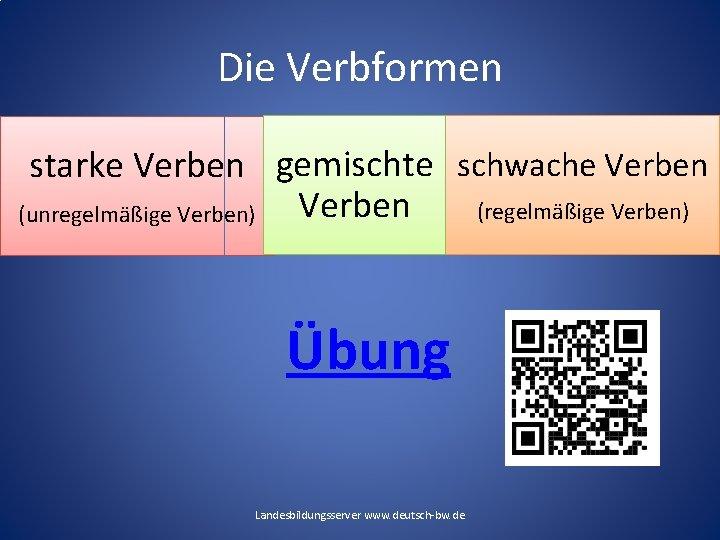 Die Verbformen starke Verben gemischte schwache Verben (regelmäßige Verben) (unregelmäßige Verben) Übung Landesbildungsserver www.