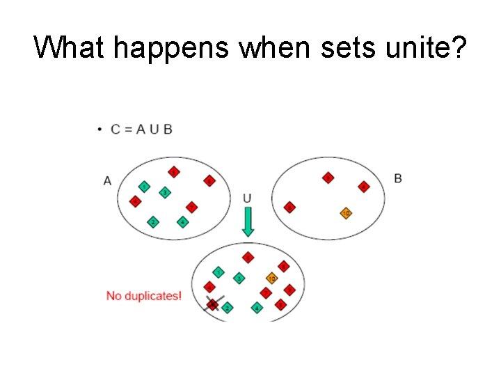 What happens when sets unite?