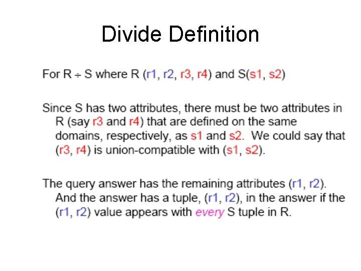 Divide Definition