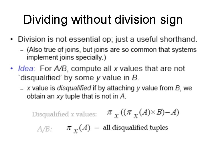 Dividing without division sign
