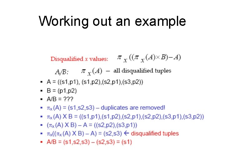 Working out an example