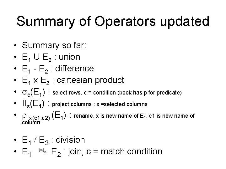 Summary of Operators updated • • Summary so far: E 1 U E 2