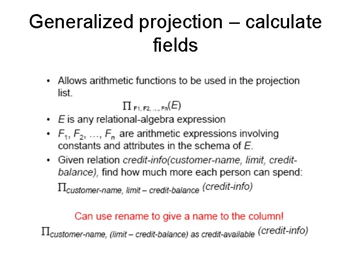 Generalized projection – calculate fields