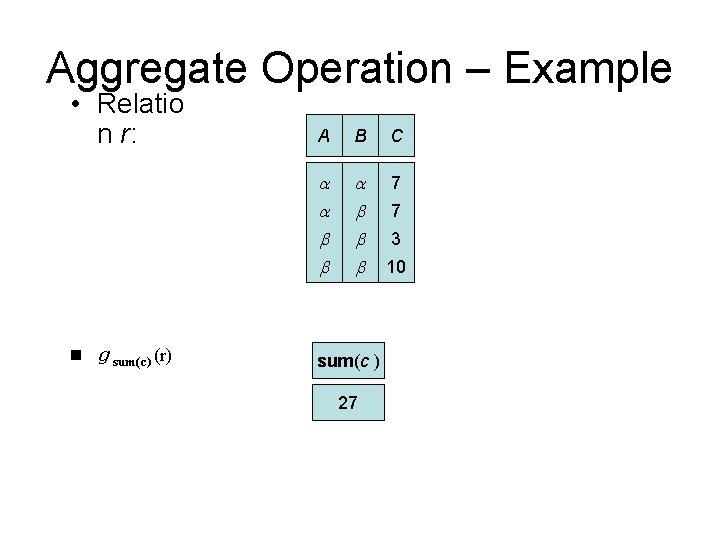 Aggregate Operation – Example • Relatio n r: n g sum(c) (r) A B