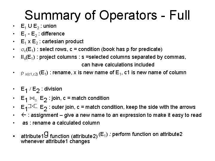 Summary of Operators - Full • • • E 1 U E 2 :