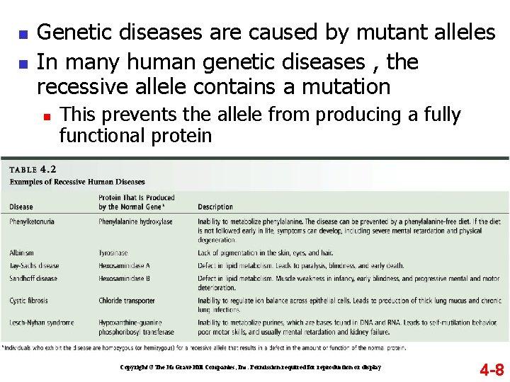 n n Genetic diseases are caused by mutant alleles In many human genetic diseases