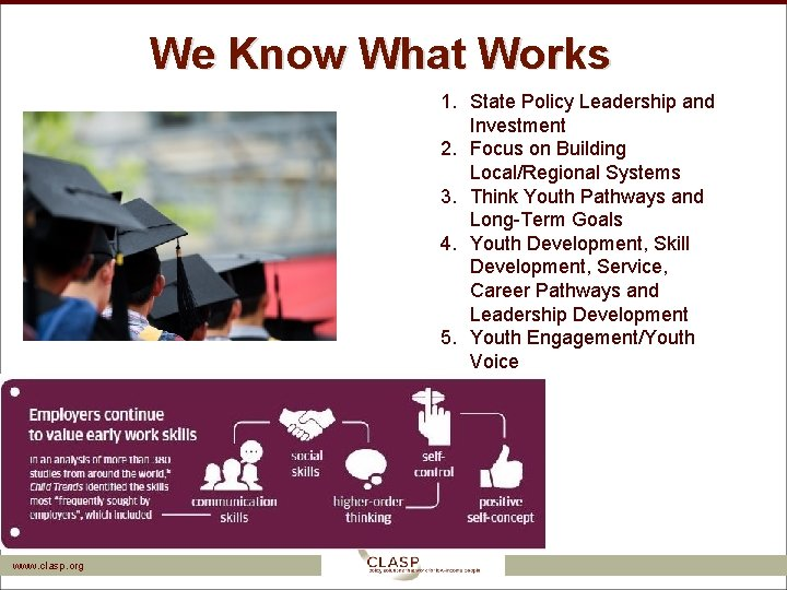 We Know What Works 1. State Policy Leadership and Investment 2. Focus on Building