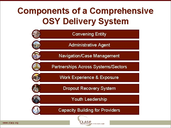 Components of a Comprehensive OSY Delivery System Convening Entity Administrative Agent Navigation/Case Management Partnerships