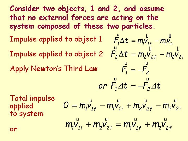 Consider two objects, 1 and 2, and assume that no external forces are acting