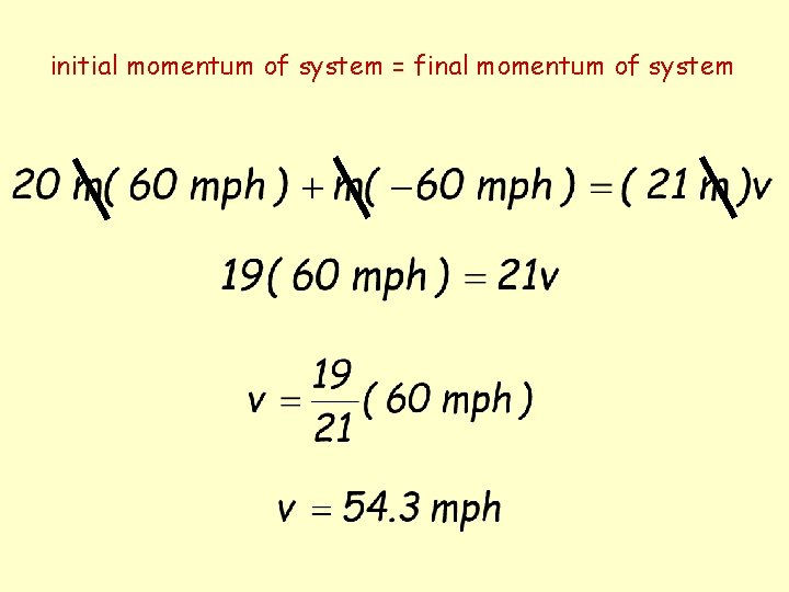 initial momentum of system = final momentum of system